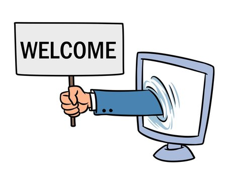 Computer website welcome hand sign cartoon illustration isolated image