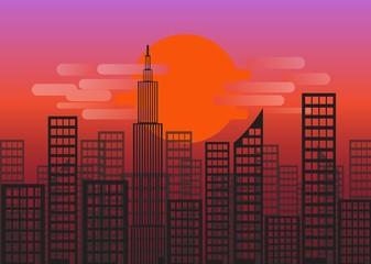 sunset or sunrise of city Skyline