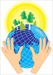 Concept of protecting planet. Hands hold a globe with trees on background of sun.