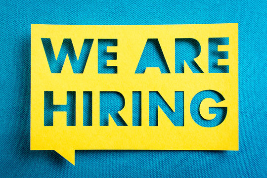 """job, hiring and employment concept. """"We are hiring"""" yellow banner on blue textured background. Job board design, template."""