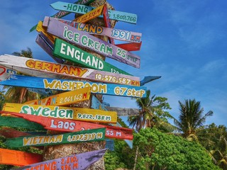 Colorful wooden direction sign on other countries by kilometer distance away.