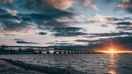 sunset at seven mile bridge in Florida