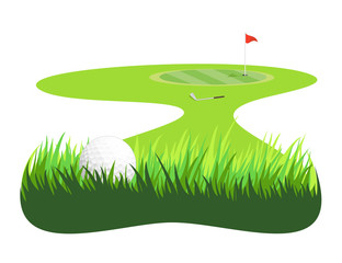 Golf ball in rough grass, and Green
