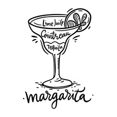 Cocktail Margarita and its ingredients in vintage style. Hand draw vector illustration