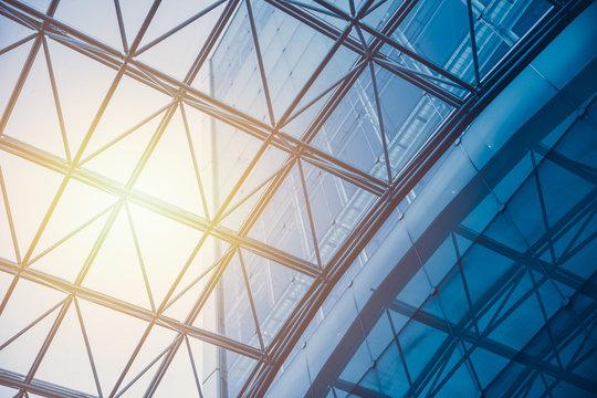 Business building Glass Roof with Sun light pass through