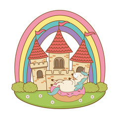 Poster Castle unicorn with castle and rainbow in the field
