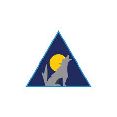 lone wolf triangle night logo vector