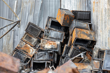 burnt electric cargo. fire microwave after fire in factory. concept :  insurance goods. risk management.