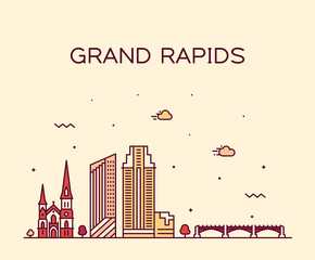 Fotomurales - Grand Rapids skyline Michigan USA vector linear