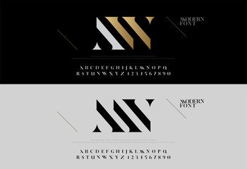 Elegant alphabet letters font set. Modern lettering fashion concept. Typography fonts classic style, regular uppercase and number. vector illustration
