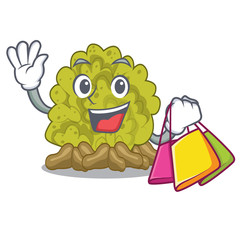 Shopping miniature green coral reef with mascot