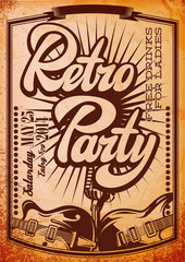 Vector Stylish Color Retro Party Template with Guitars
