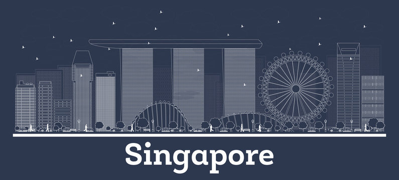 Outline Singapore City Skyline with White Buildings.