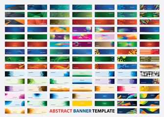 Mega collection of 105 colorful banner template. Abstract web banner design.  Header, landing page web design elements.