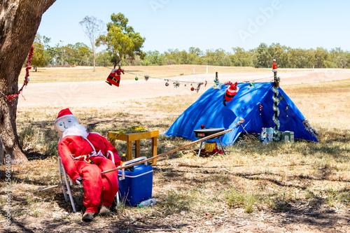 Christmas Camping Australia.Outback Christmas Scene Santa Camping Fishing Australia