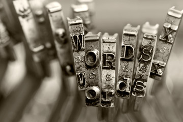 the words WORDS with old typewriter keys  macro