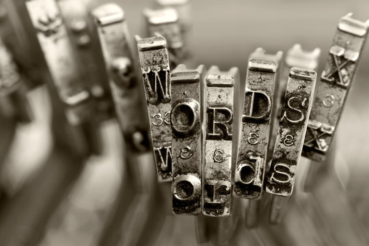 the words WORDS with old typewriter keys  macro