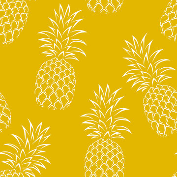 Pineapple seamless pattern on yellow background. Vector simple illustration with fruits. Food Background.