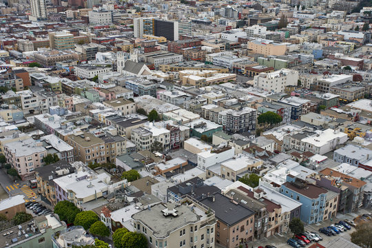 Buildings of San Francisco, California, seen from Coit Tower.
