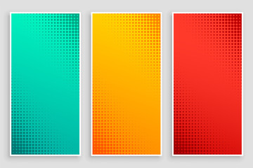 stylish set of halftone banners