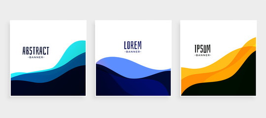 set of wave banners in different colors
