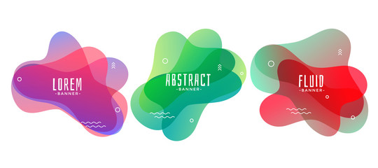 set of abstract liquid or fluid shape banners