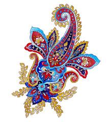 Ornate colorful indian vintage paisley elements isolated on white background