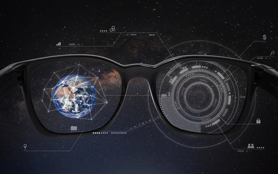 Smart glasses, VR virtual reality, and AR augmented reality technology. Element of this image are furnished by NASA
