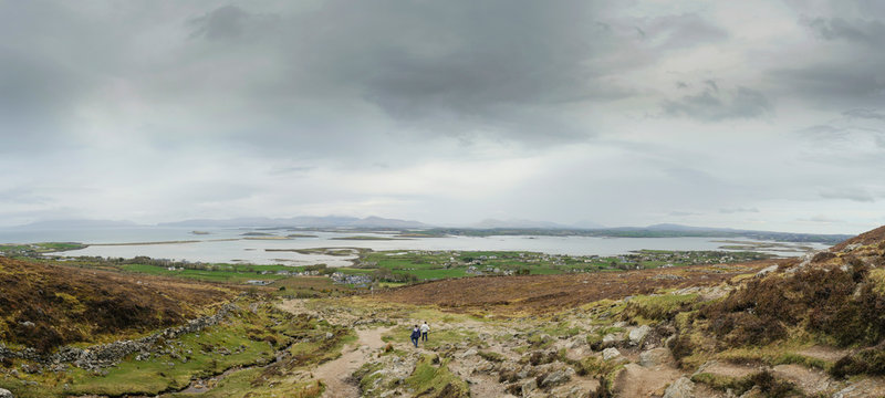 Panorama View from a path on a Croagh Patrick trail, Near Westport, county Mayo, Ireland.