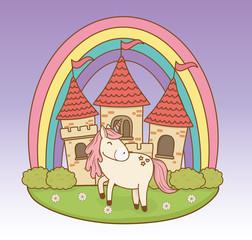 Poster Castle cute fairytale unicorn with castle and rainbow