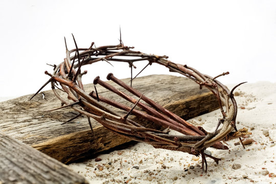 Jesus Crown Thorns and nails and cross on sand. Vintage Retro Style.