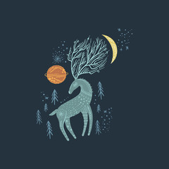 Nursery poster with ornate animal, deer wall art with night space elements. Forest inhabitant