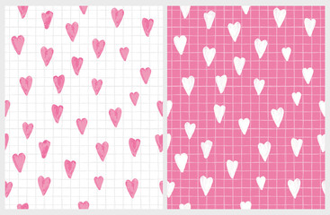 Funny Abstract Hand Drawn Hearts Vector Pattern. Simple Tiny Hearts Sketched on a Piece of Notebook. Watercolor Style Hearts of Irregular Shape on a White and Pink Background.Lovely Baby Girl Design.