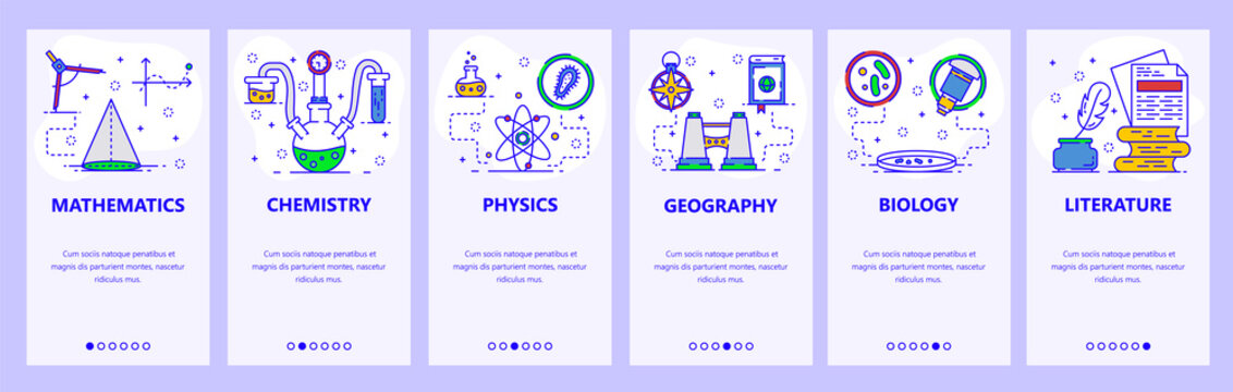 Mobile app onboarding screens. Science and school subjects, chemistry, math, physics, biology. Menu vector banner template for website and mobile development. Web site design flat illustration