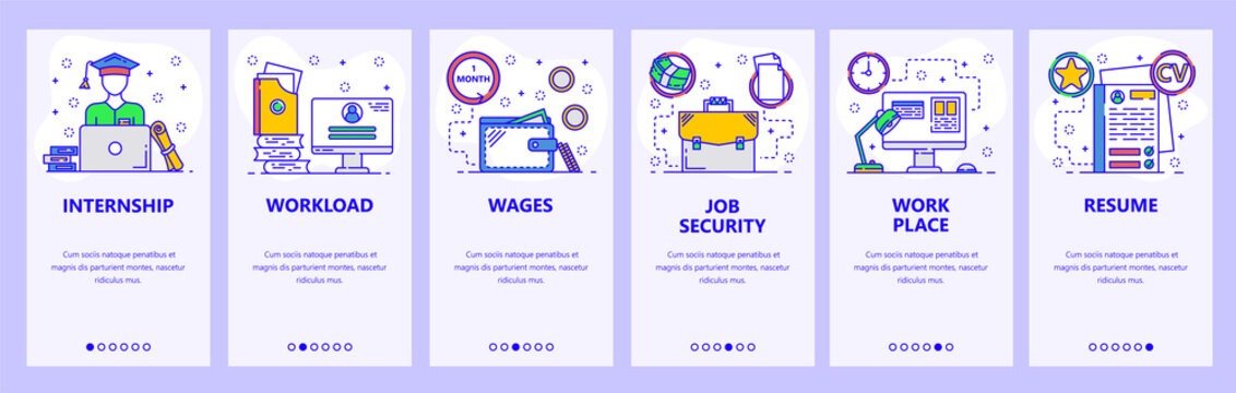 Mobile app onboarding screens. Business work place and office, job, education. Menu vector banner template for website and mobile development. Web site design flat illustration