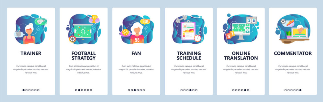 Mobile app onboarding screens. Sport game trainer, football strategy, sport fan and commentator. Menu vector banner template for website and mobile development. Web site design flat illustration