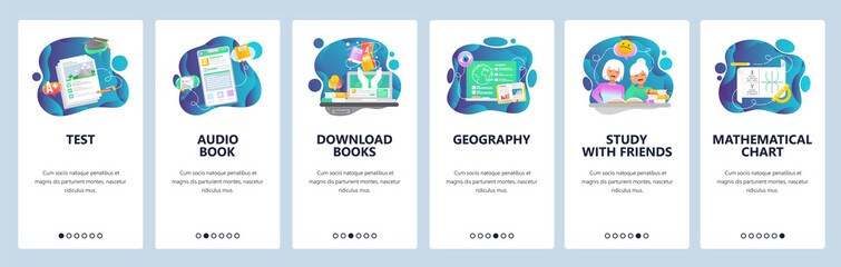 Mobile app onboarding screens. School education, audio and electronic books, math. Menu vector banner template for website and mobile development. Web site design flat illustration