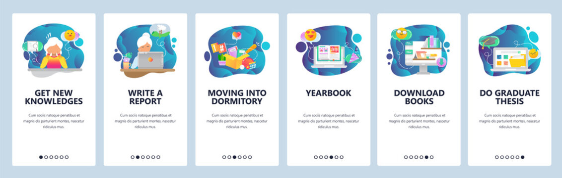Mobile app onboarding screens. College and school education icons, yearbook, online library, thesis. Menu vector banner template for website and mobile development. Web site design flat illustration