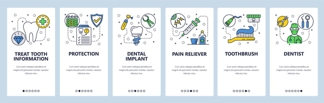 Mobile app onboarding screens. Dental care, tooth implant, dentist doctor and health insurance. Menu vector banner template for website and mobile development. Web site design flat illustration