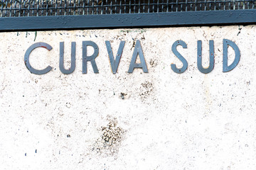 Antique sign of Curva Sud in the Olympic Stadium. The Stadio Olimpico is the main and largest sports facility of Rome, Italy