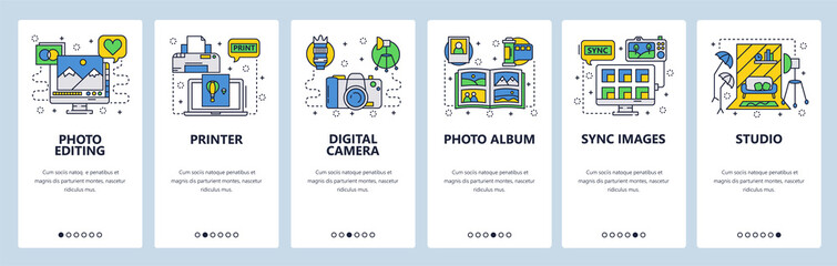 Mobile app onboarding screens. Photography studio, photo editing, digital camera, printer and album. Menu vector banner template for website and mobile development. Web site design flat illustration