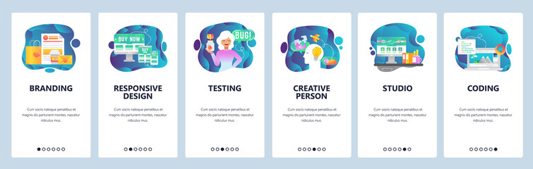 Mobile app onboarding screens. Digital marketing, branding and design studio, creativity. Menu vector banner template for website and mobile development. Web site design flat illustration