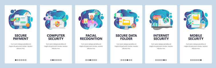 Mobile app onboarding screens. Internet security, data secure access and online payment, facial recognition. Menu vector banner template for website and mobile development. Web site flat illustration
