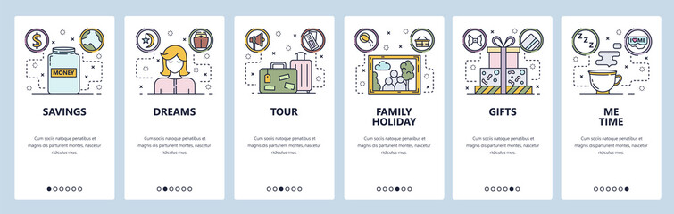 Mobile app onboarding screens. Money savings, travel bag, family portrait, me time. Menu vector banner template for website and mobile development. Web site design flat illustration