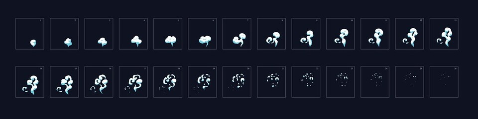 Smoke animation. Animation of smoke effect. Sprite sheet for game, cartoon or animation. 2d classic animation smoke effect.