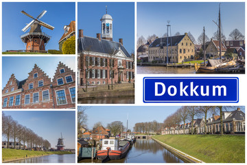 Fototapete - Collage of interesting sights in the Frisian city of Dokkum, Netherlands