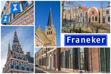 Fototapete - Collage of interesting sights in the Frisian city of Franeker, Netherlands