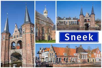 Fototapete - Collage of interesting sights in the Frisian city of Sneek, Netherlands