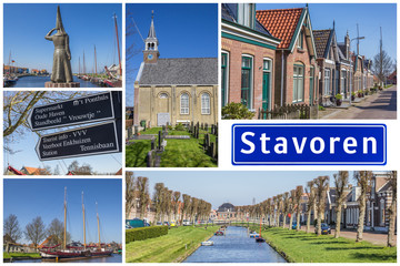 Fototapete - Collage of interesting sights in the Frisian city of Stavoren, Netherlands