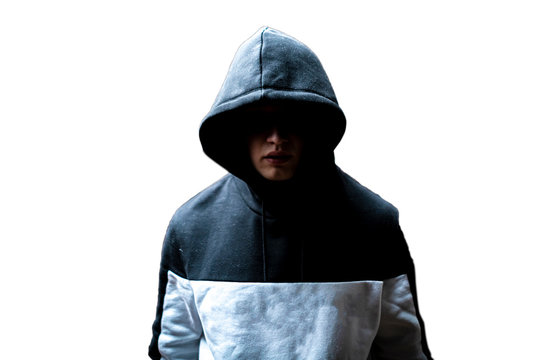 anonymous man in the dark hood standing in the mysterious pose f